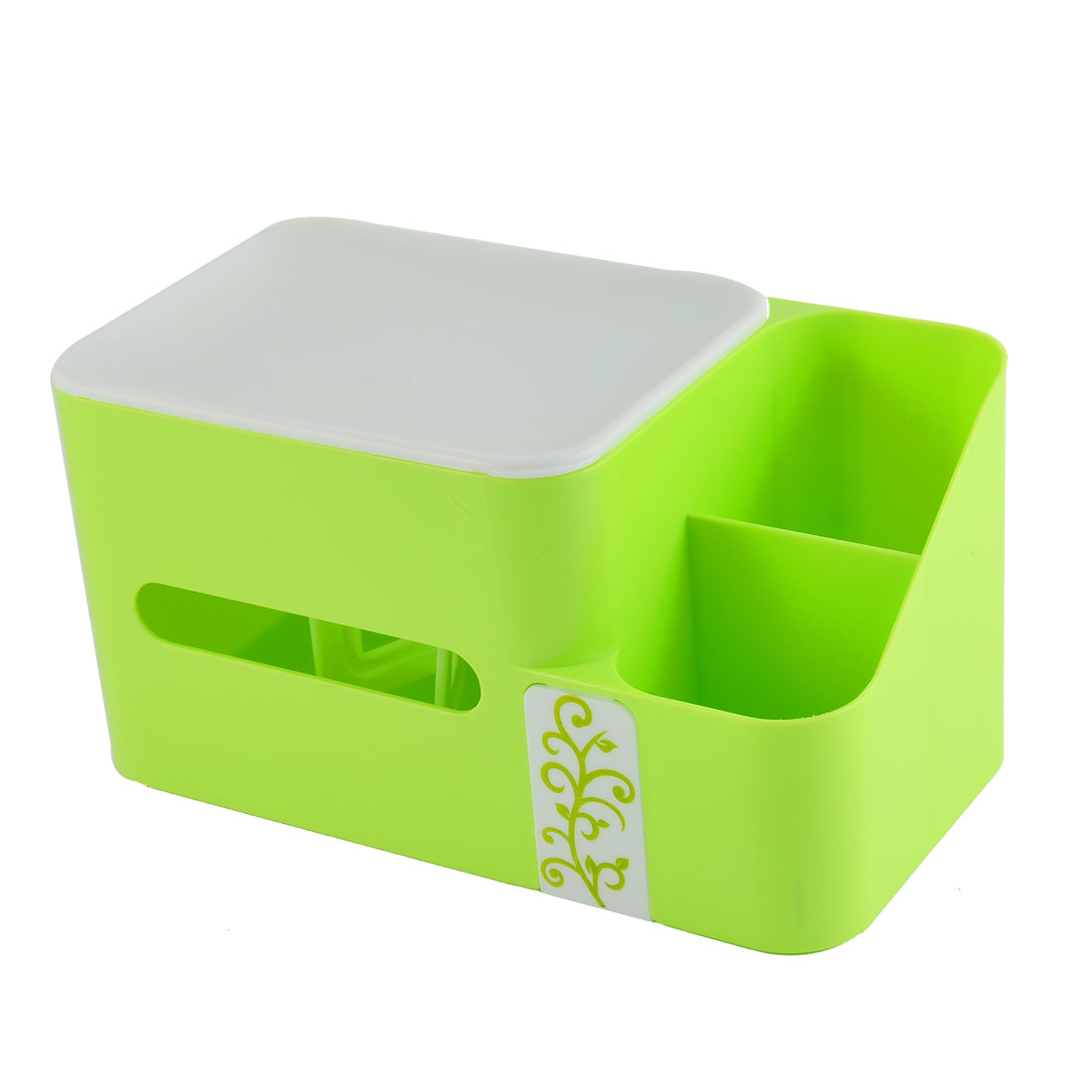 Home Plastic Rectangle Shaped Paper Napkin Tissue Box Container Holder Green
