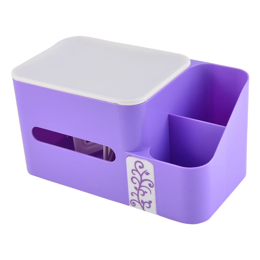 Home Plastic Rectangle Shaped Paper Napkin Tissue Box Container Purple