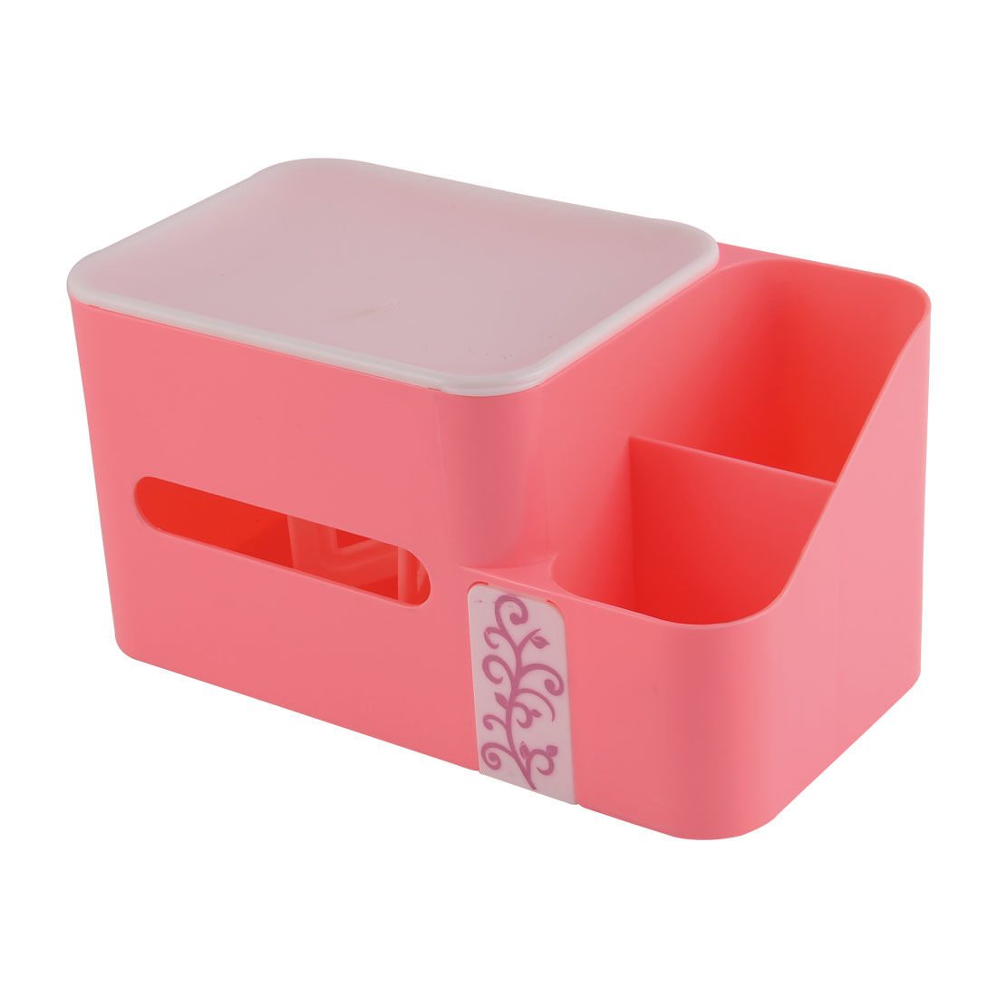 Home Plastic Rectangle Shaped Paper Napkin Tissue Box Container Honder Pink