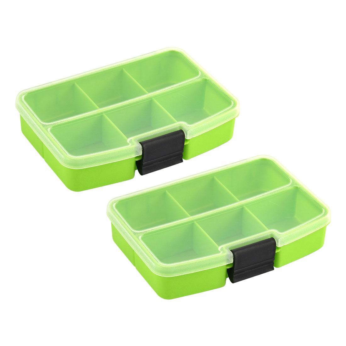 Desktop Plastic Rectangle 6 Compartments Storage Box Organizer Green 2pcs