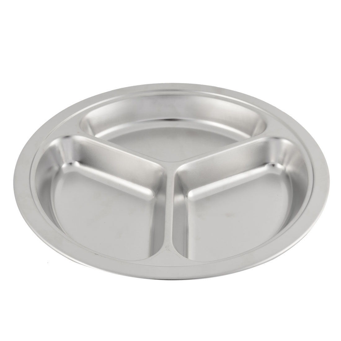 Home Restaurant Metal Round Shaped Tableware Three Compartments Dish Plate