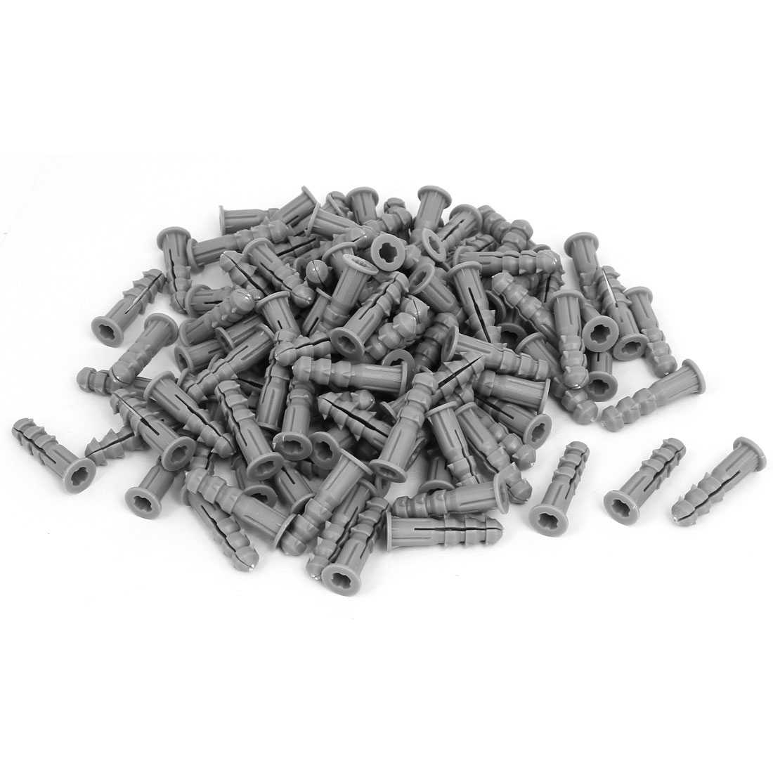6mmx25mm Plastic Expansion Nail Wall Anchor Screw Gray 200pcs