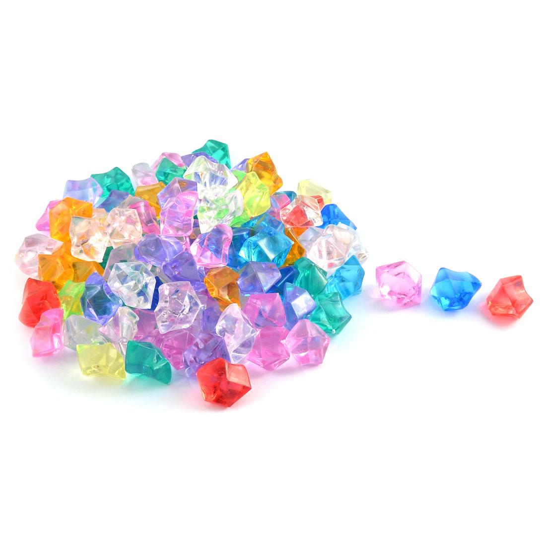 Fish Tank Plastic Artificial Crystal Aquarium Glass Stones Assorted Color 100pcs