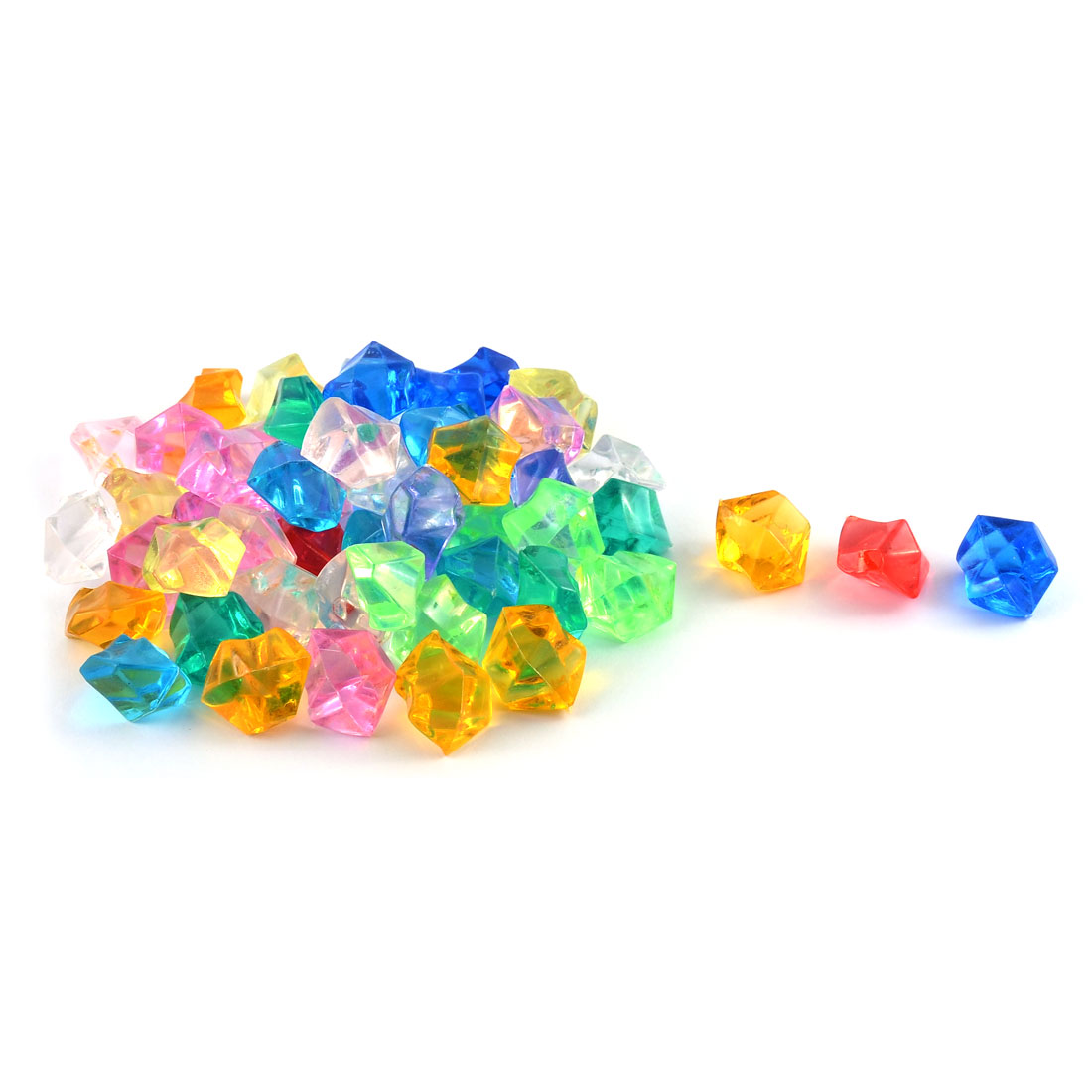 Fish Tank Plastic Assorted Color Manmade Crystal Aquarium Glass Stones Assorted Color 53pcs