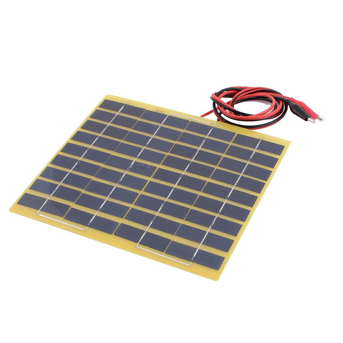 DC 18V 5W Polysilicon Energy Saving Solar Cell Panel Module w Alligator clips