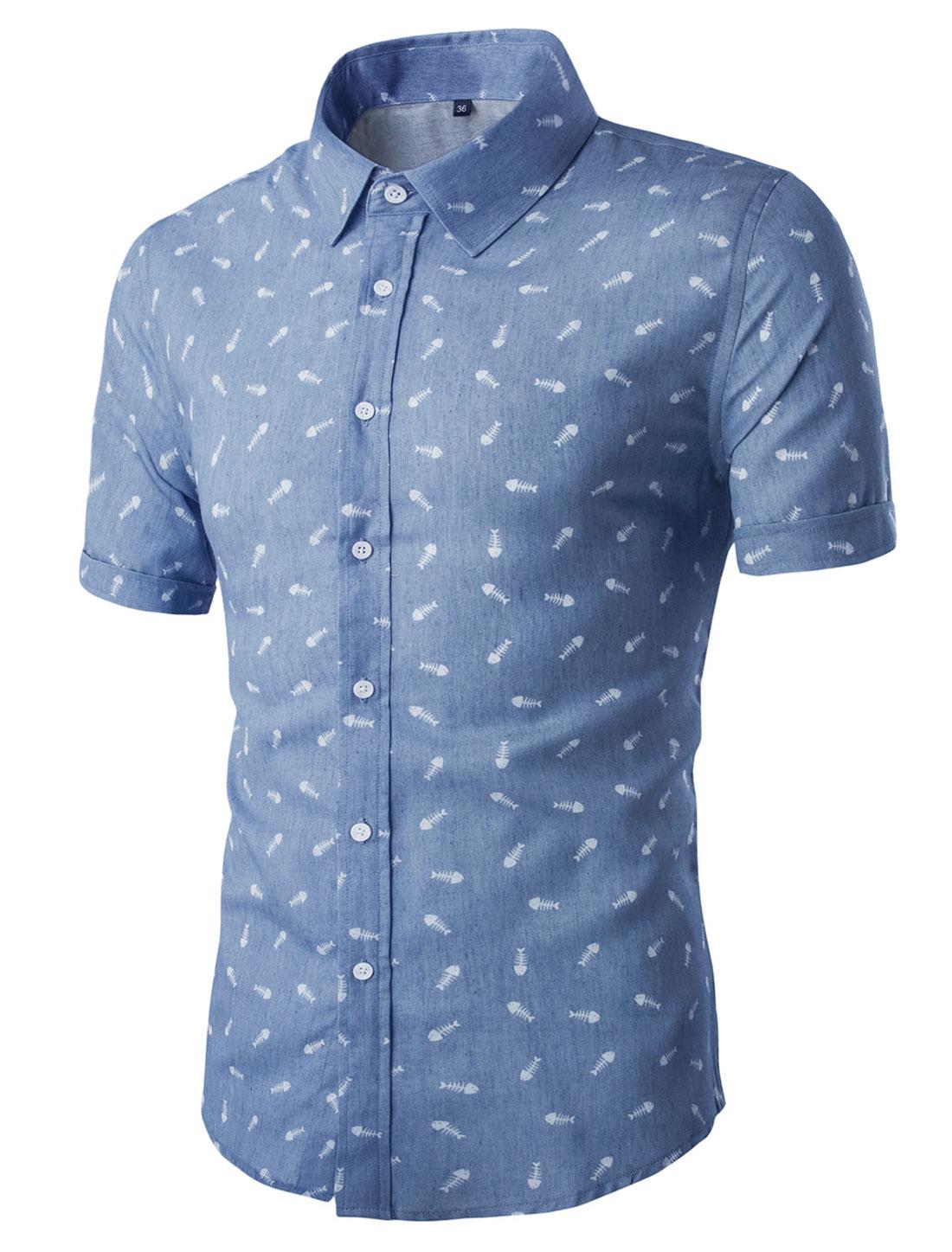 Men Short Sleeves Button Closed Fishbone Prints Cotton Shirt Blue M
