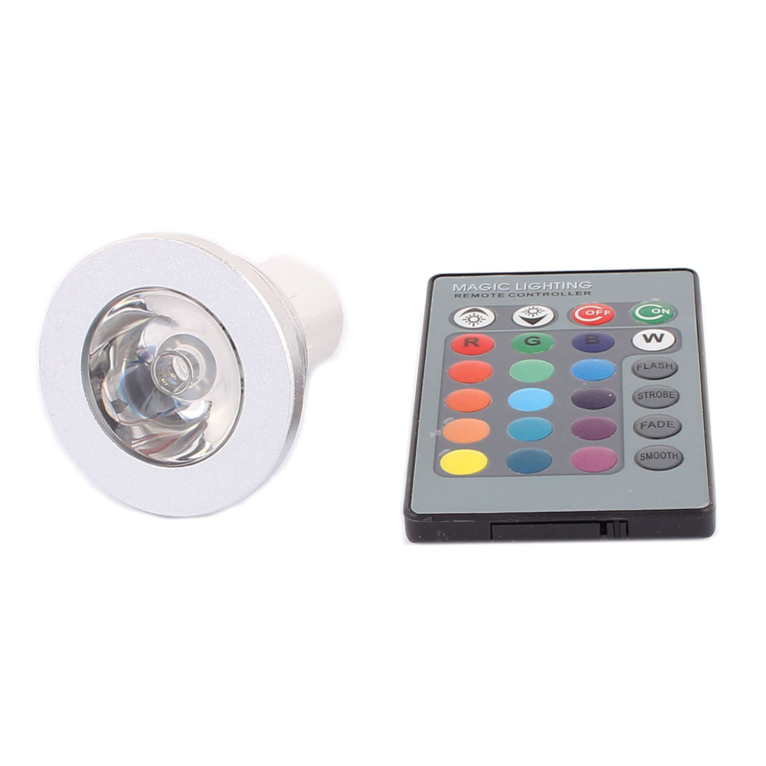 GU10 Adapter Decor Spotlight Light RGB LED Lamp Bulb 3W AC 85-265V w Remote Controller
