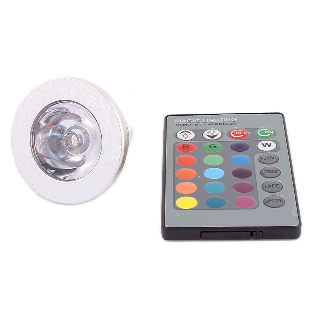 MR16 Adapter Decorative Spotlight Light RGB LED Lamp Bulb 3W AC 85V-265V w Remote Controller