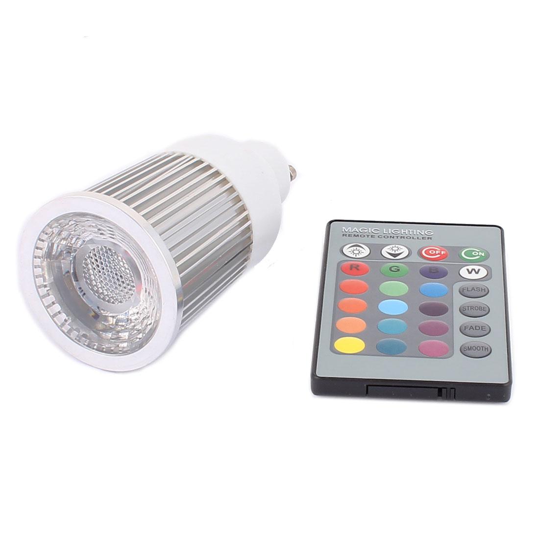GU10 Adapter Decor Spotlight Light RGB LED Lamp Bulb 5W AC 85-265V w Remote Controller