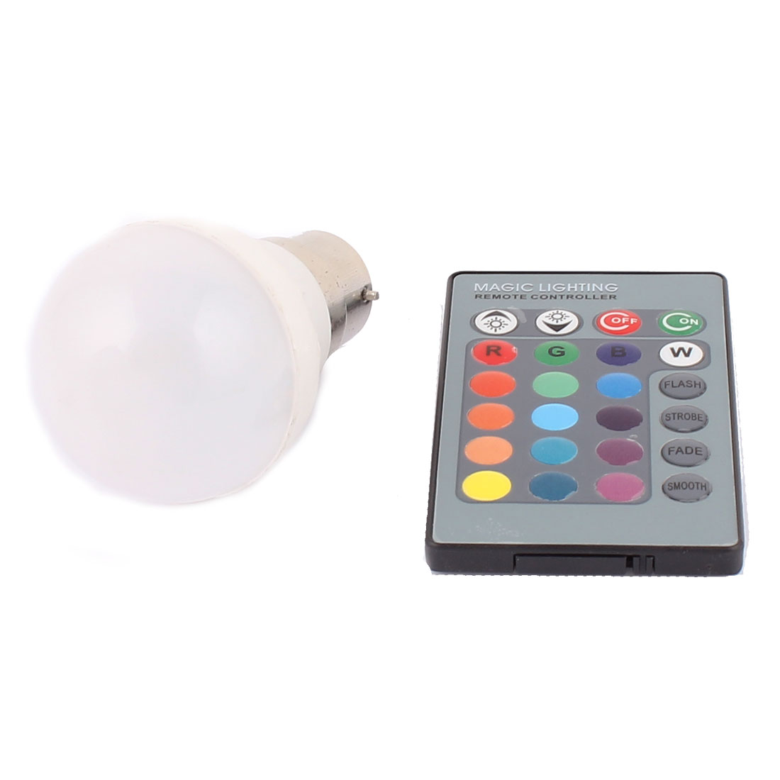 B22 Adapter Decor Home Light RGB LED Lamp Bulb 3W AC 85-265V w Remote Controller