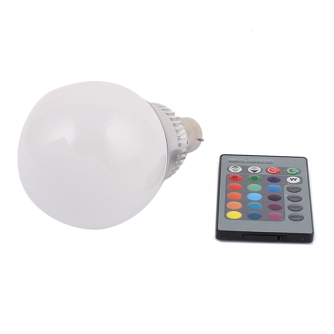 B22 16 Colors Decorative Ball Light RGB LED Lamp Bulb 10W AC 85V-265V w Remote Controller
