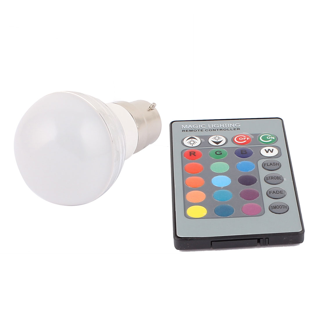 B22 Adapter Decor Ball Light RGB LED Lamp Bulb 3W AC 85-265V w Remote Controller