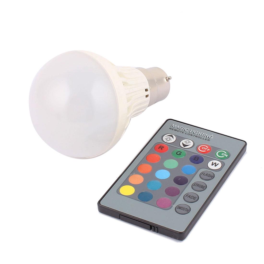 B22 16 Colors Change Home Light RGB LED Lamp Bulb 3W AC 85V-265V w Remote Controller