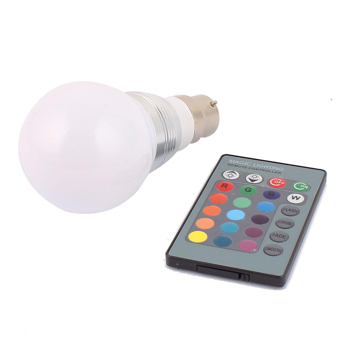 B22 16 Colors Change Ball Light RGB LED Lamp Bulb 3W AC85-265V w Remote Controller