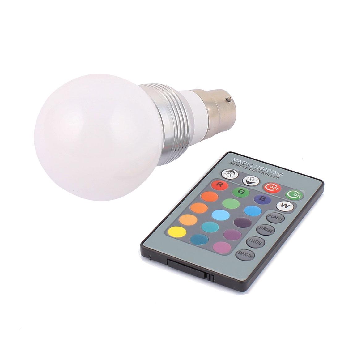 B22 Adapter Decor Ball Light RGB LED Lamp Bulb 5W AC85V-265V w Remote Controller