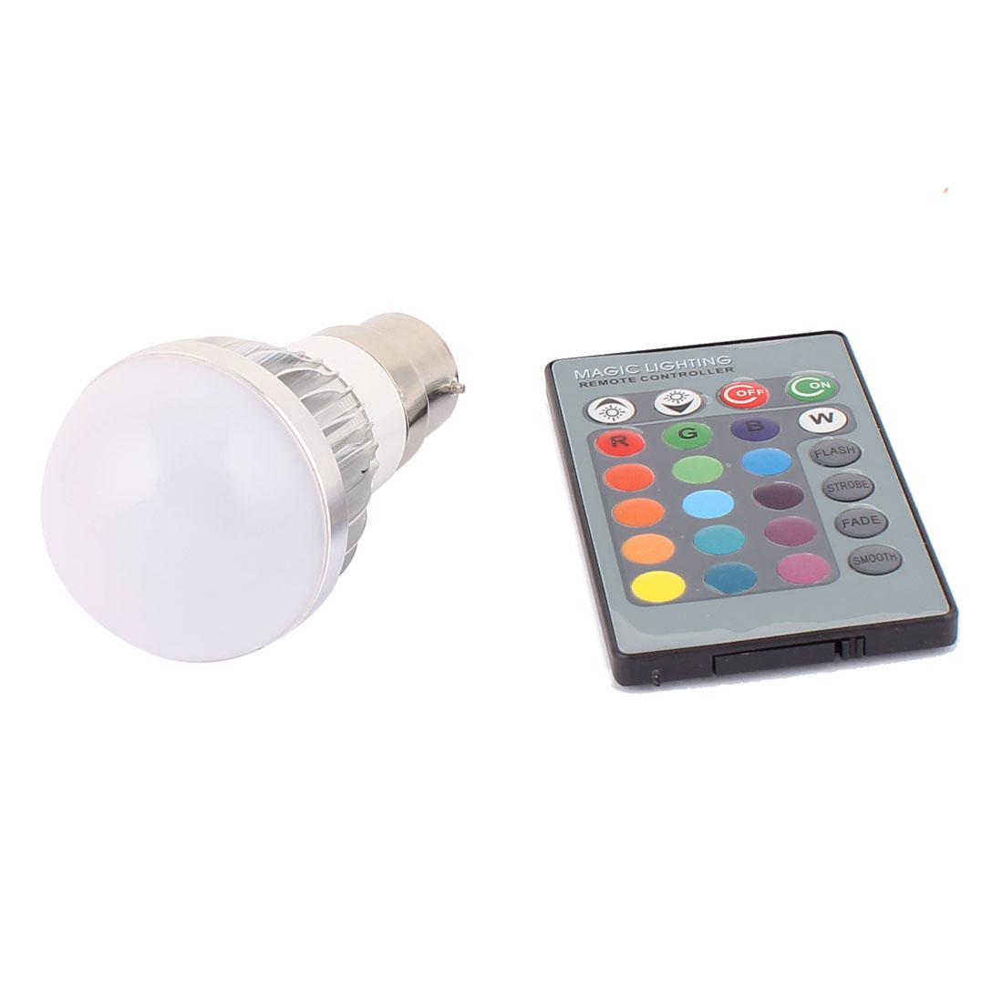B22 Adapter Decorative Ball Light RGB LED Lamp Bulb 3W AC 85V-265V w Remote Controller