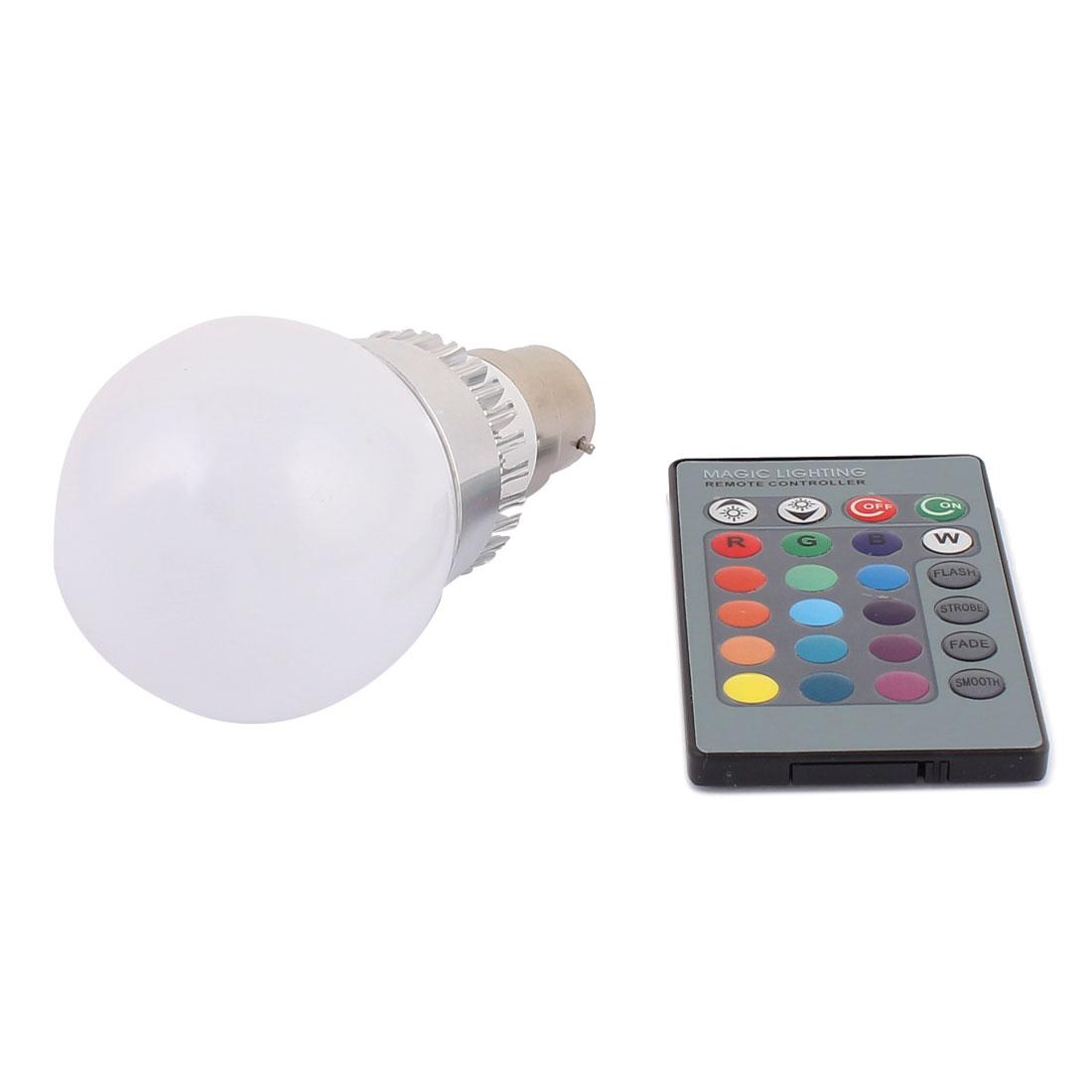 B22 16 Colors Change 250LM Light RGB LED Lamp Bulb 3W AC 85V-265V w Remote Controller