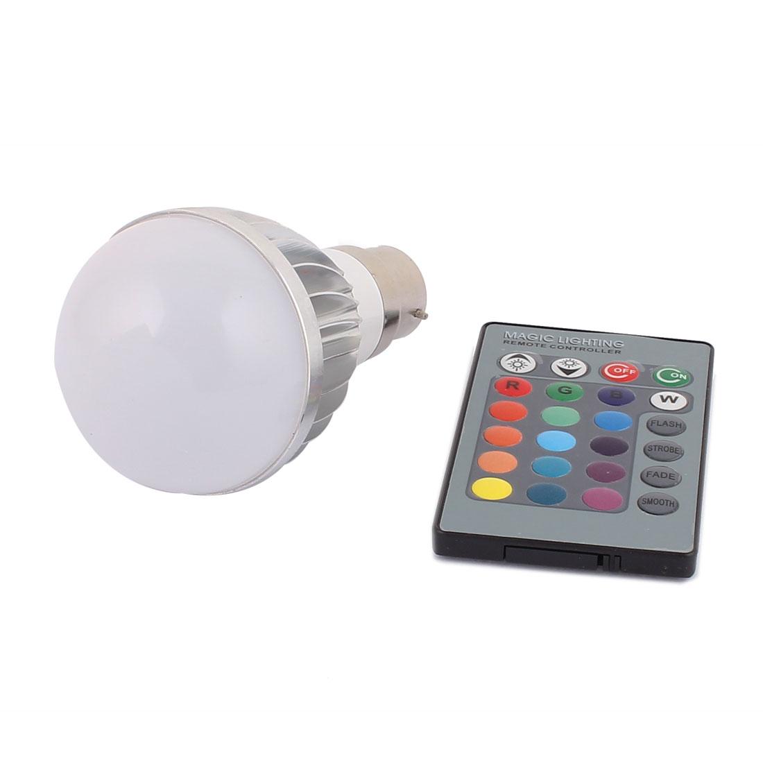 B22 16 Colors Change 150LM Light RGB LED Lamp Bulb 5W AC 85V-265V w Remote Controller