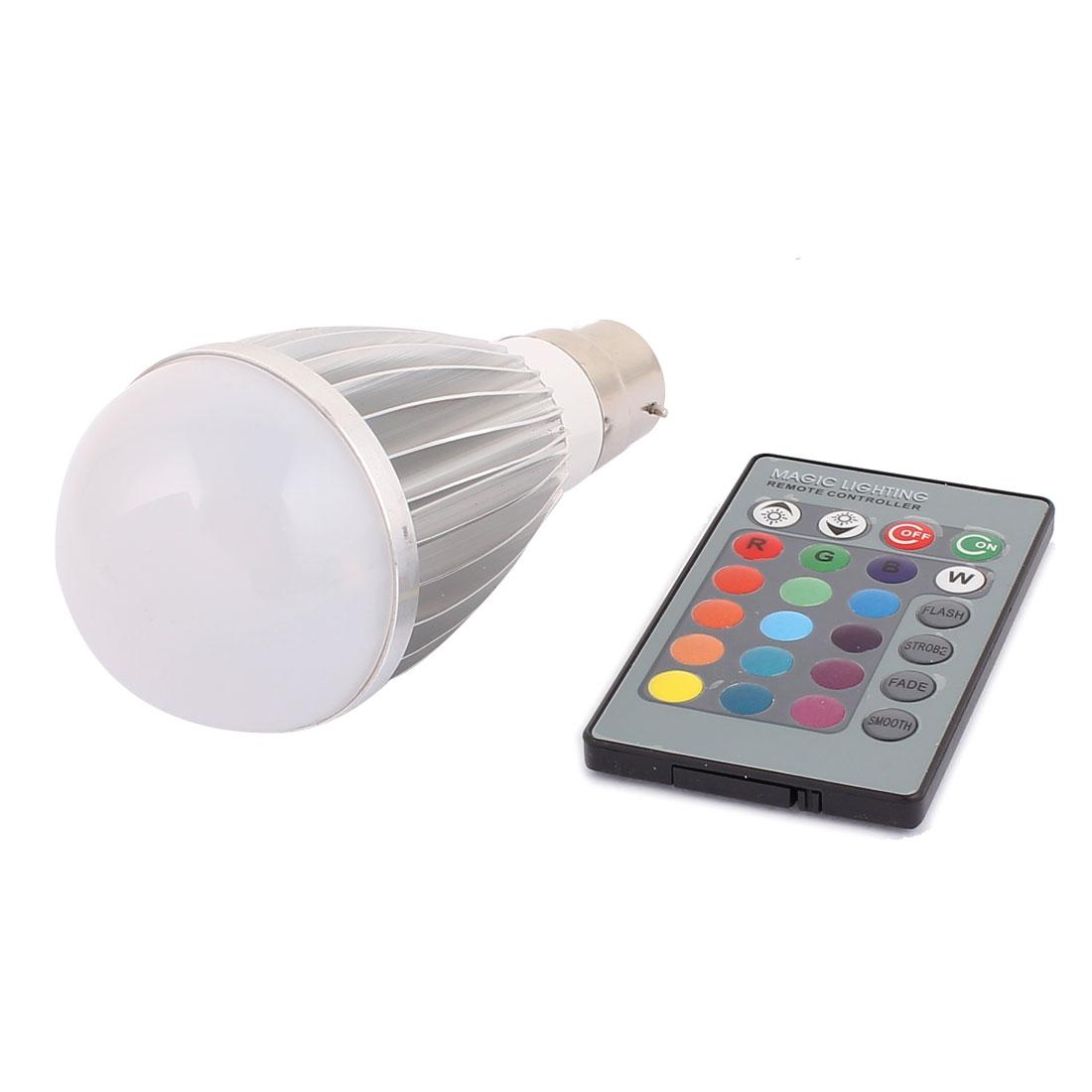 B22 16 Colors Changing 150LM Light RGB LED Lamp Bulb 9W AC 85V-265V w Remote Controller