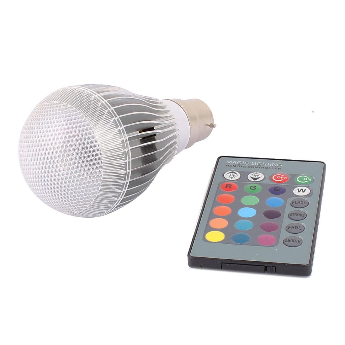 B22 16 Colors Change Ball Light RGB LED Lamp Bulb 5W AC 85V-265V w Remote Controller