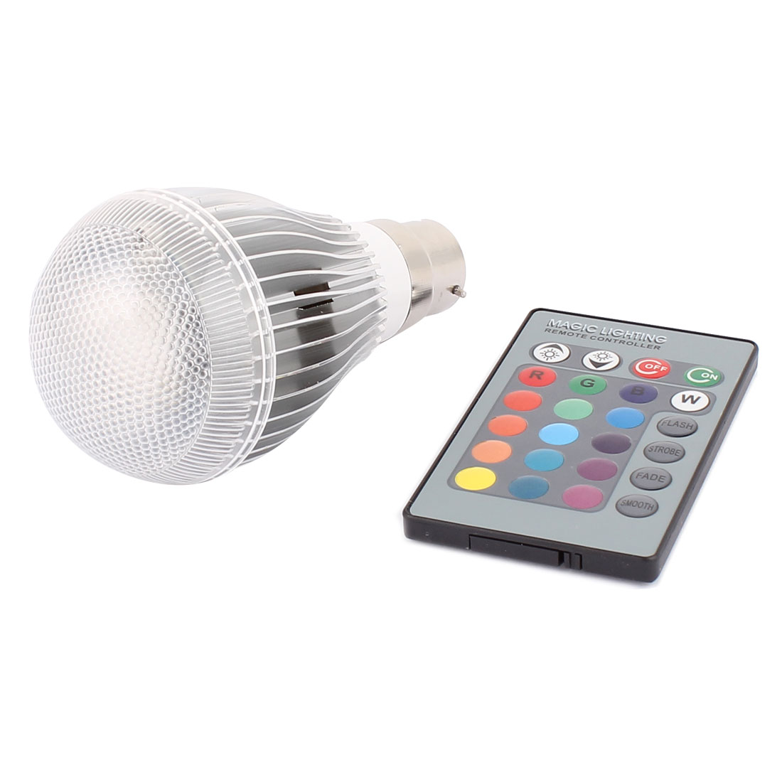 B22 16 Colors Changing Ball Light RGB LED Lamp Bulb 9W AC 85V-265V w Remote Controller