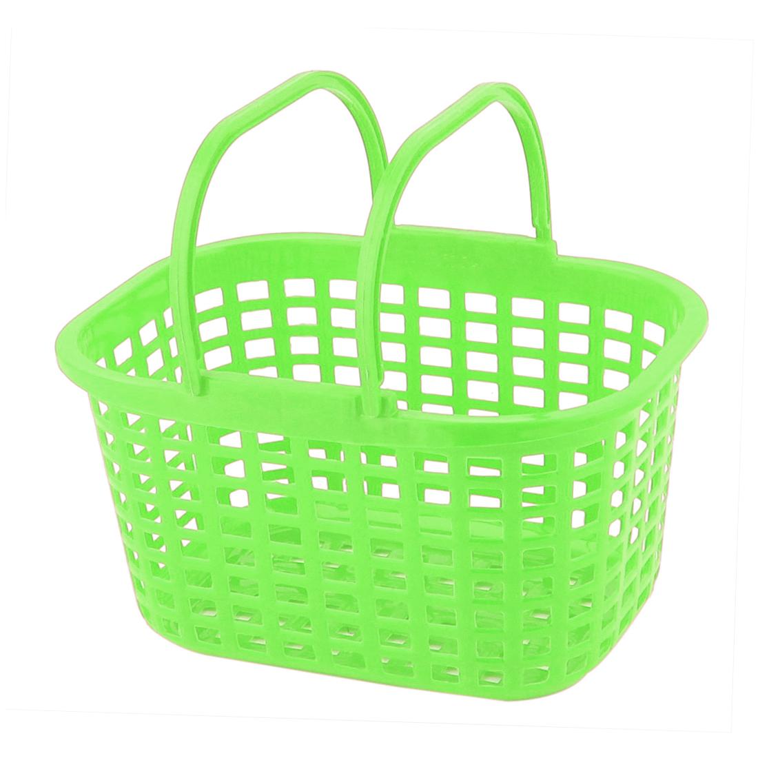 Household Washroom Bathroom Plastic Rectangle Design Portable Storage Basket Green