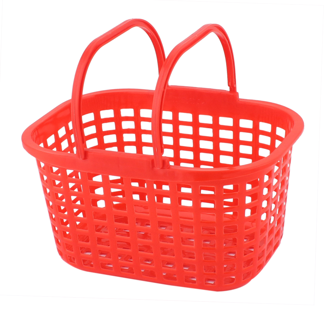 Household Washroom Bathroom Plastic Rectangle Design Portable Storage Basket Red