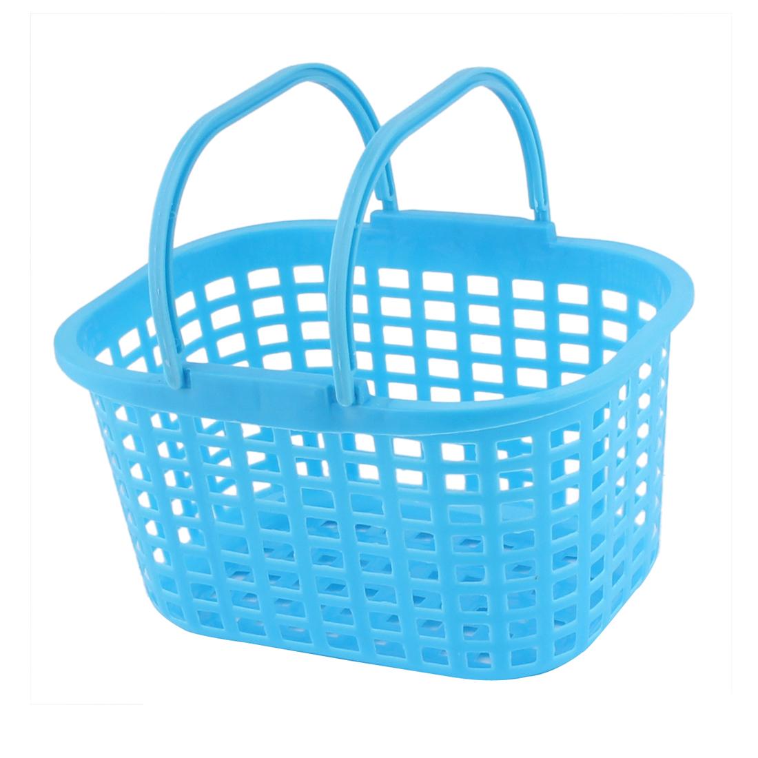 Household Washroom Bathroom Plastic Rectangle Design Portable Storage Basket Blue