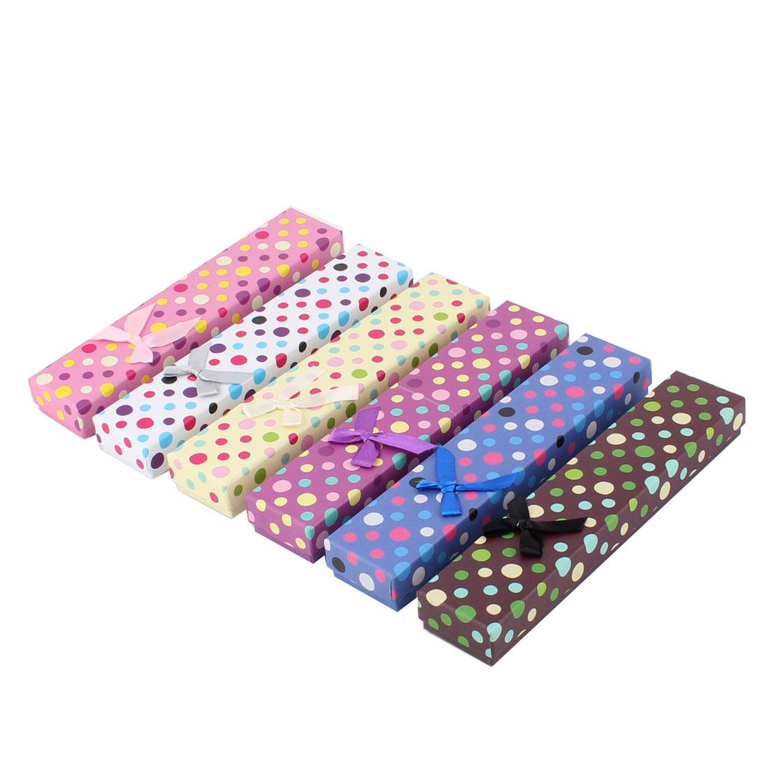Gift Dot Pattern Rectangle Shaped Bowknot Decor Treasure Jewelry Paper Case Box 6pcs