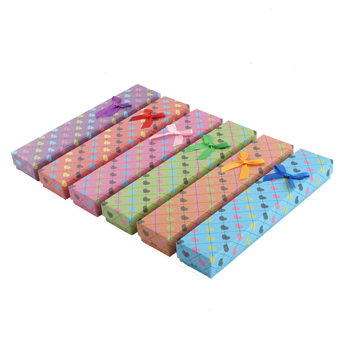 Present Gift Heart Pattern Rectangle Shaped Bowknot Decor Jewelry Paper Case Box 6pcs