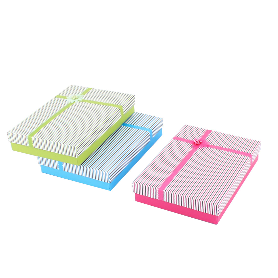 Present Gift Stripe Pattern Rectangle Shaped Flower Decor Treasure Paper Case Box 3pcs