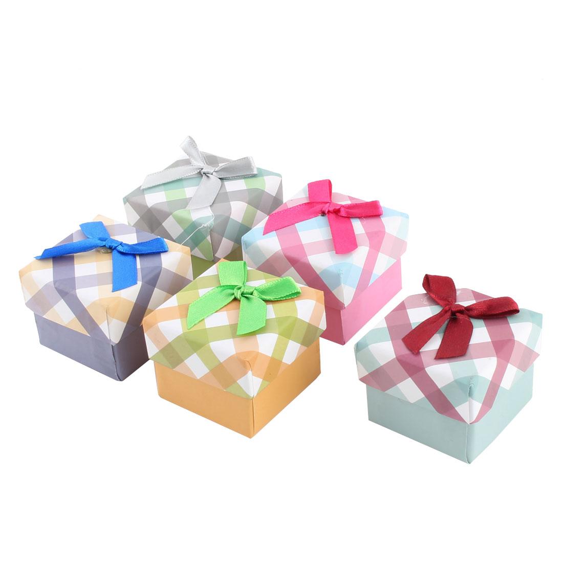 Gift Stripe Pattern Square Shaped Bowknot Decor Treasure Jewelry Paper Case Box 5pcs