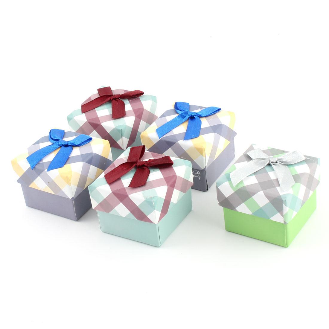 Present Gift Stripe Pattern Square Shaped Bowknot Decor Treasure Jewelry Paper Case Box 5pcs