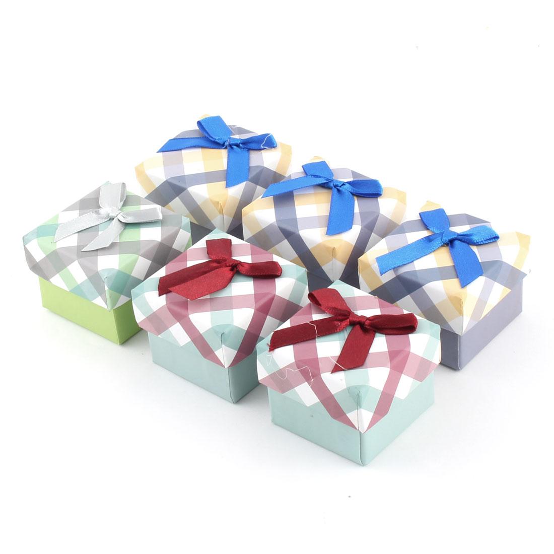 Gift Stripe Pattern Square Shaped Bowknot Decor Treasure Jewelry Paper Case Box 6pcs