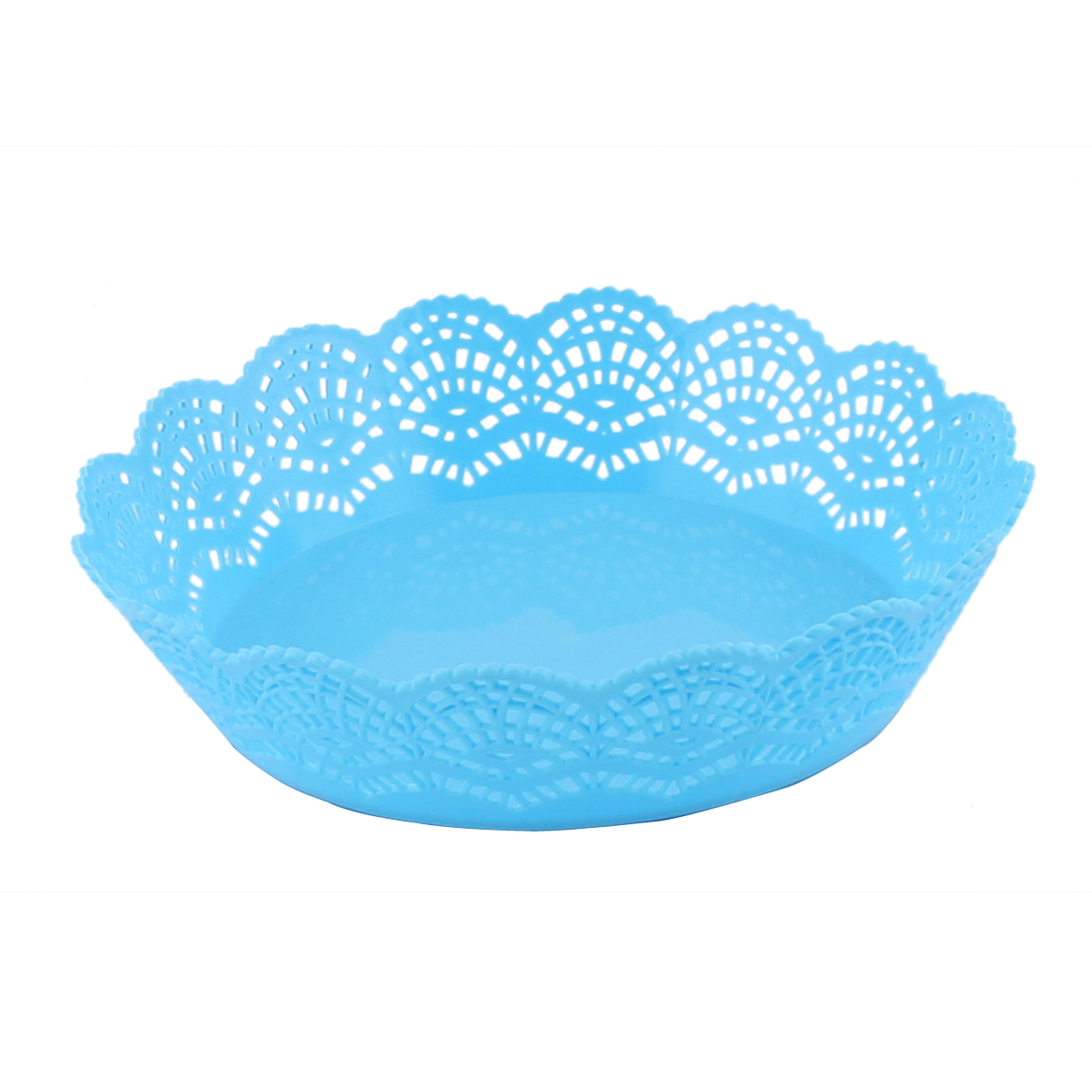 Home Living Room Kitchenware Plastic Hollow Out Wave Edge Fruit Plate Basket Blue