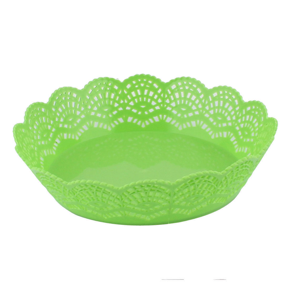 Home Living Room Kitchenware Plastic Hollow Out Wave Edge Fruit Plate Basket Green