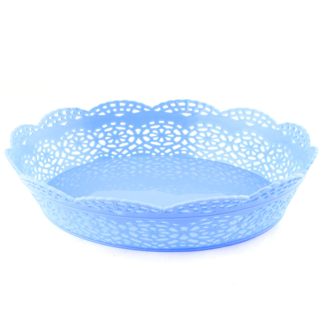 Home Living Room Plastic Oval Shaped Hollow Out Wave Edge Fruit Plate Basket Blue