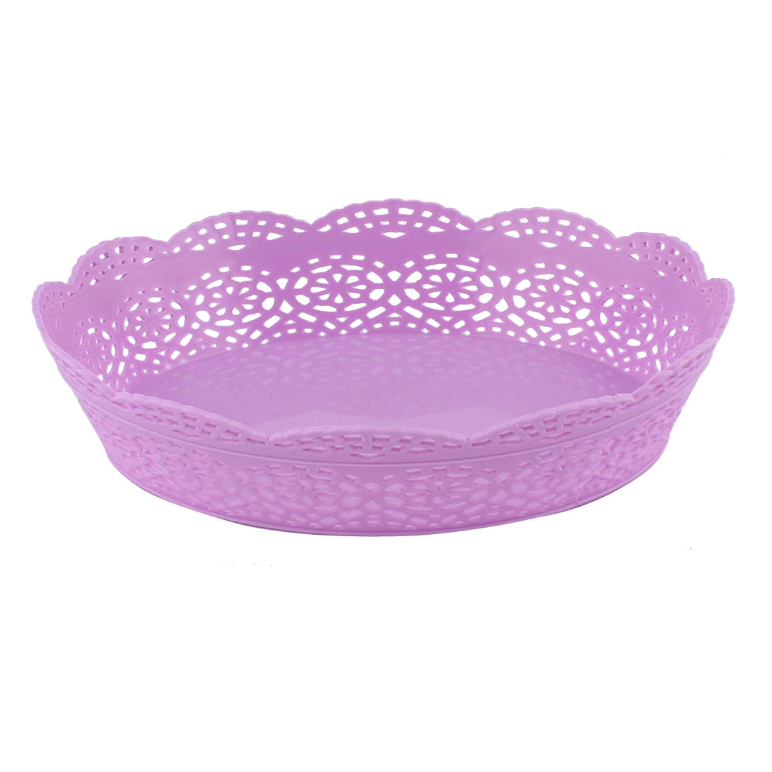 Home Living Room Plastic Oval Shaped Hollow Out Wave Edge Fruit Plate Basket Purple