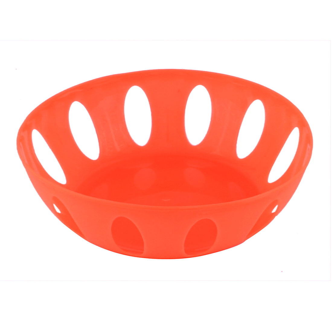 Home Living Room Kitchenware Plastic Round Shaped Hollow Out Fruit Plate Basket Orange