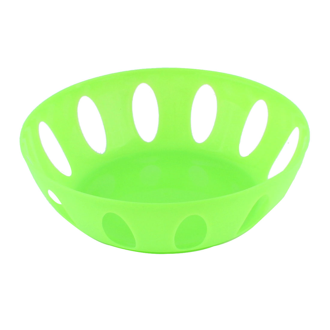 Home Living Room Kitchenware Plastic Round Shaped Hollow Out Fruit Plate Basket Green