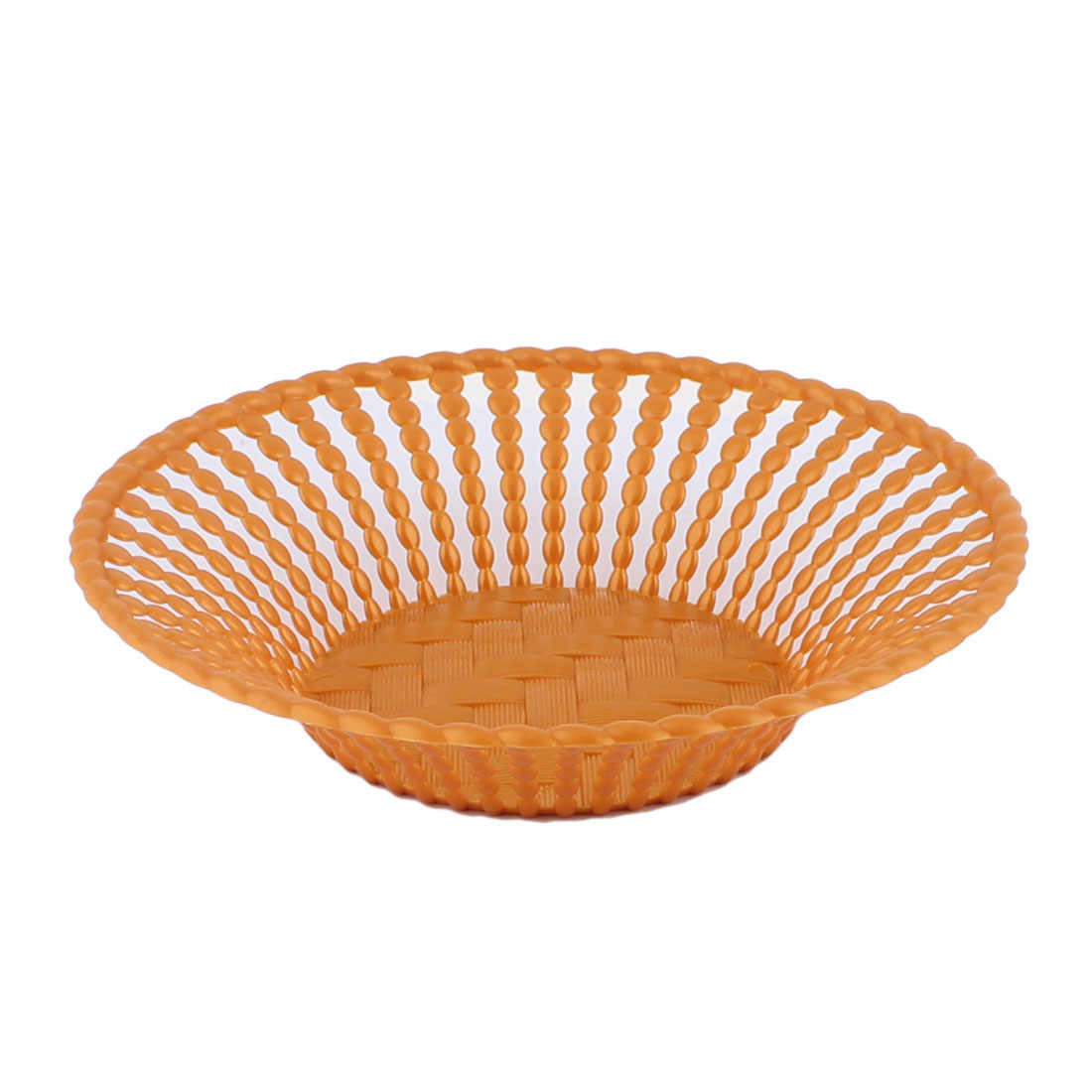 Home Living Room Kitchenware Plastic Round Shaped Hollow Out Fruit Plate Basket Brown