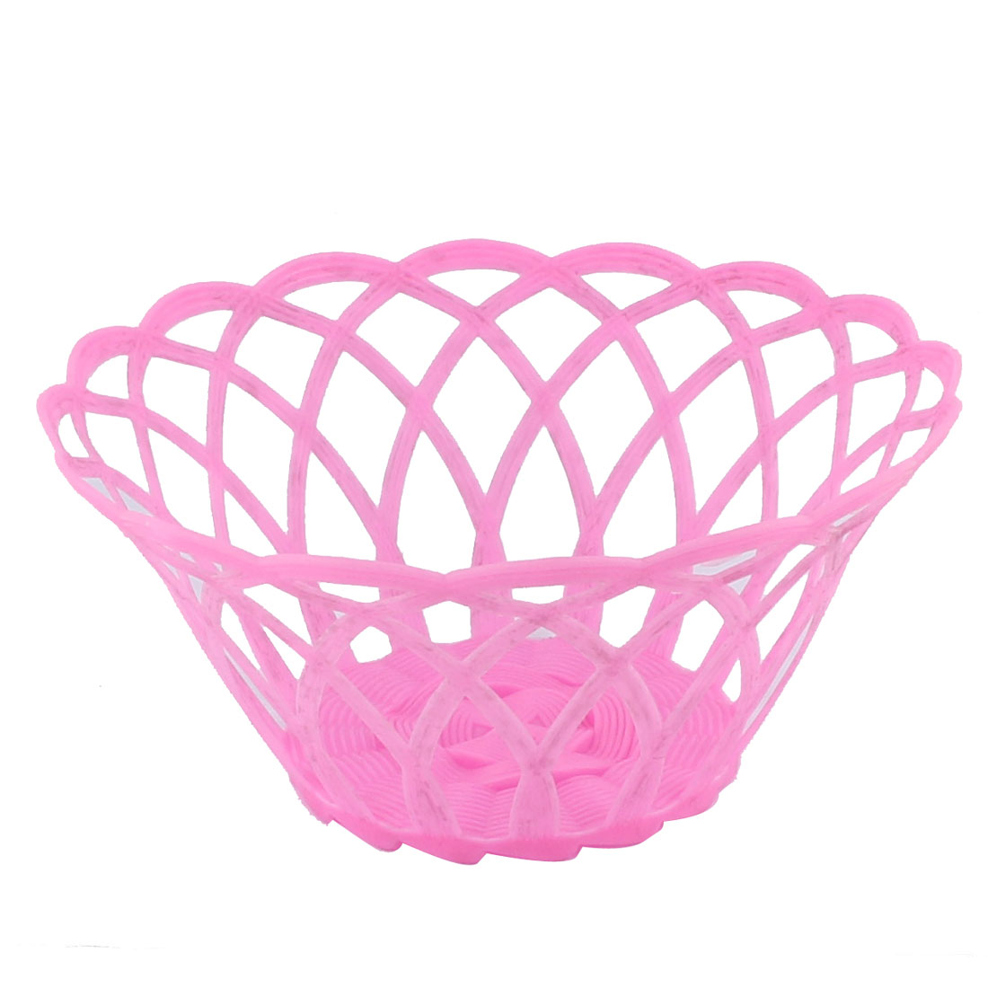Home Drawing Room Kitchenware Plastic Hollow Out Wave Edge Fruit Plate Basket Pink