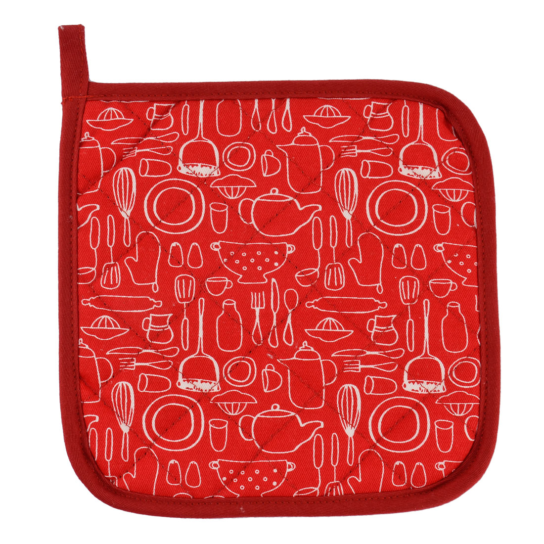 Home Kitchen Cotton Heat Resistant Dish Plate Mat Placemat Potholder Red