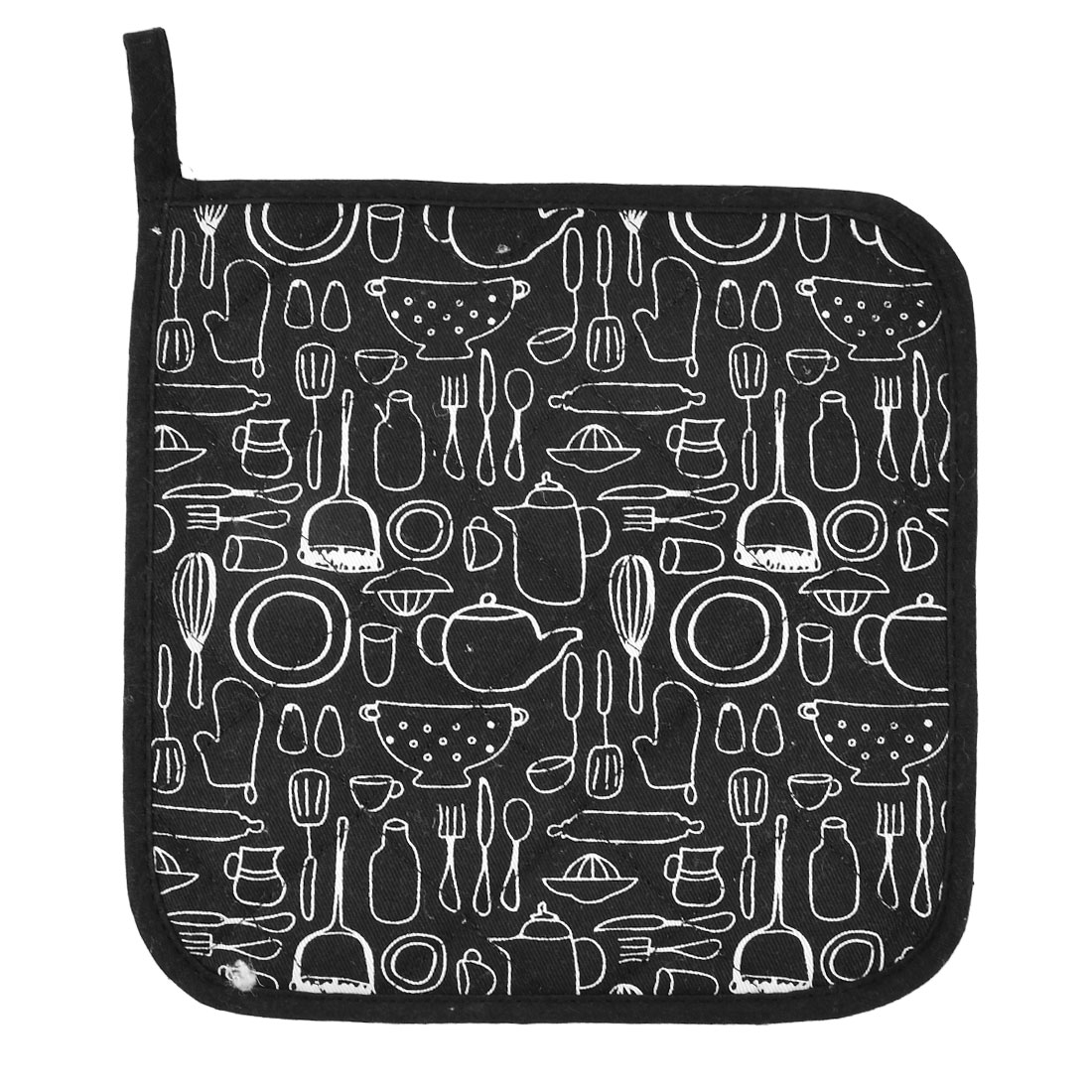Home Kitchen Cotton Heat Resistant Dish Plate Mat Placemat Potholder Black