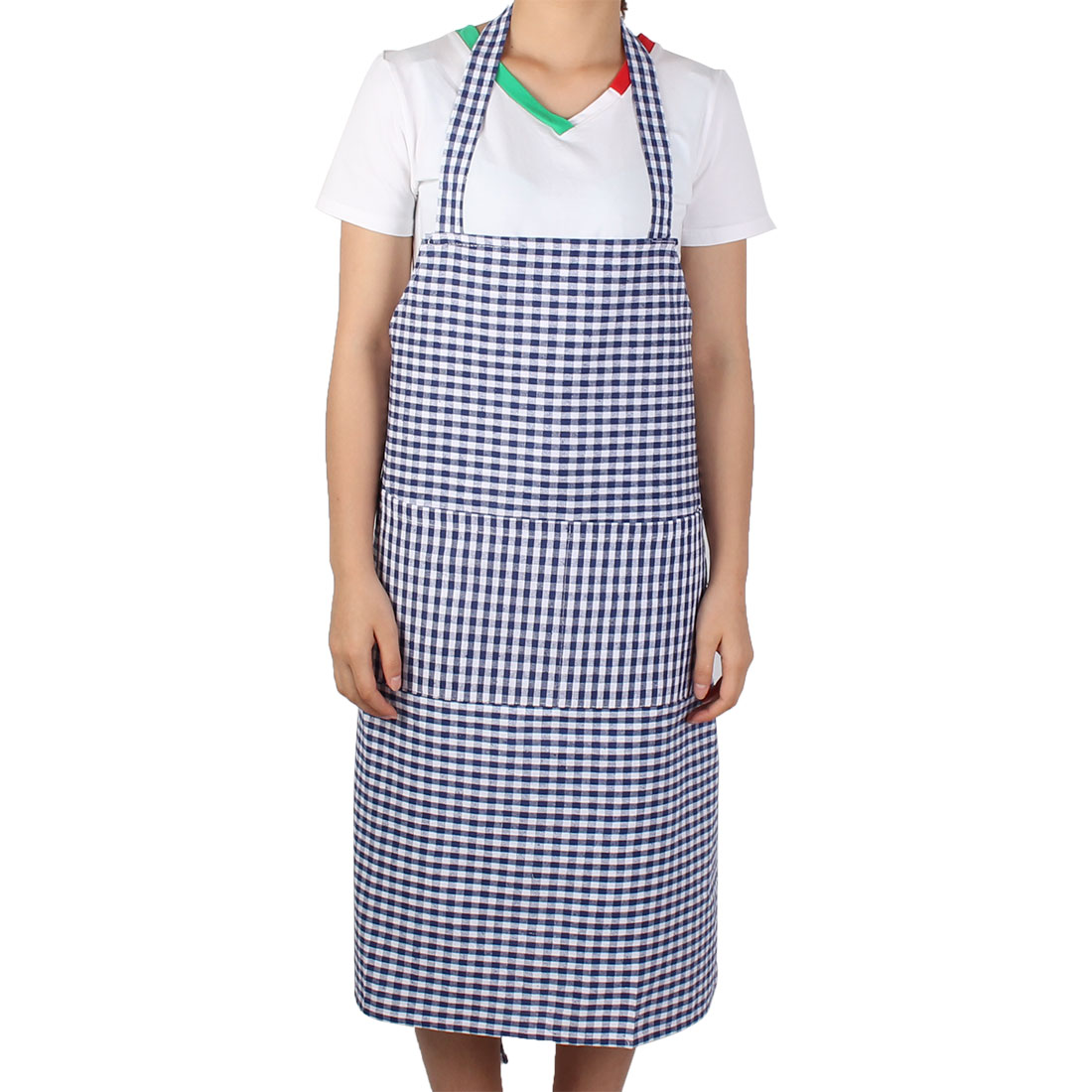 Home Kitchen Housework Pastoral Style Grid Pattern Cooking Baking Apron Dark Blue