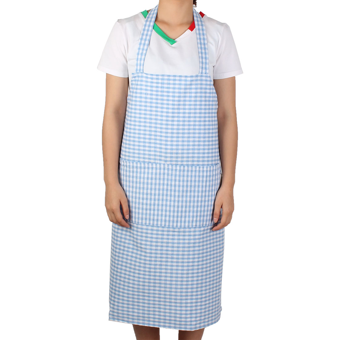 Lady Single Front Pocket Plaid Pattern Cooking Working Apron Pinafore Light Blue
