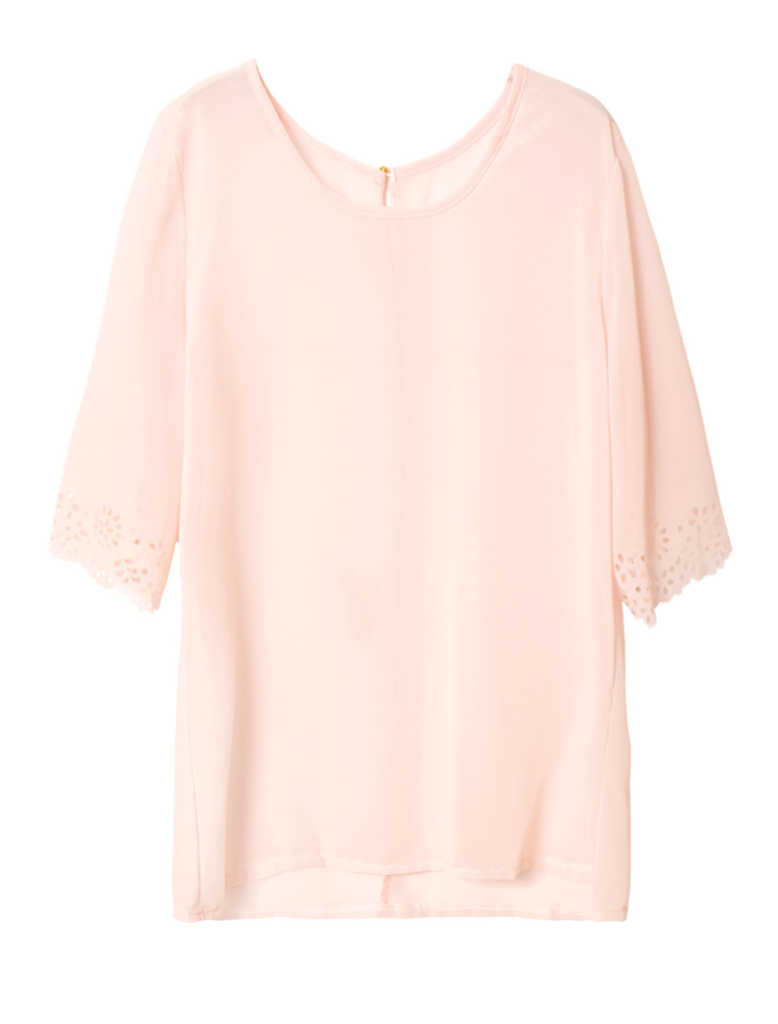 Women Embossed Half Sleeves Semi Sheer Chiffon Blouse Pink S