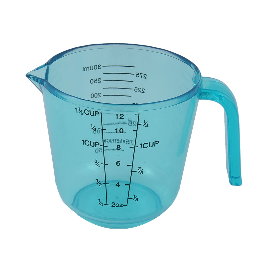Kitchen Biochemistry Lab Plastic Cylinder Shape Graduated Scale Powder Liquid Beaker Measuring Cup Tool Clear Blue 300ml