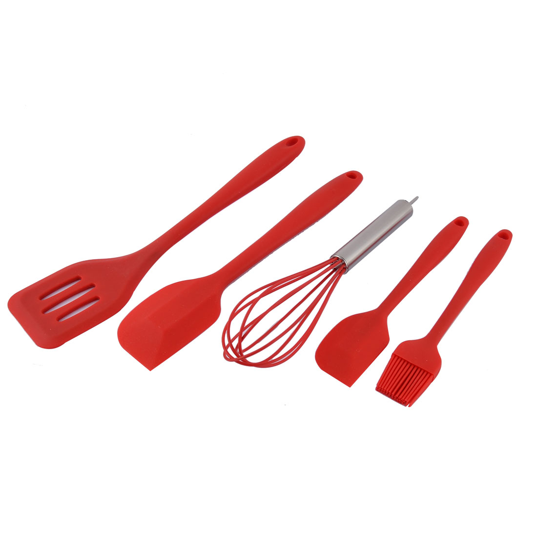 Home Kitchen Silicone Heat Resistant Spatula Brush Egg Whisk Baking Tool Utensil Set Red 5 in 1