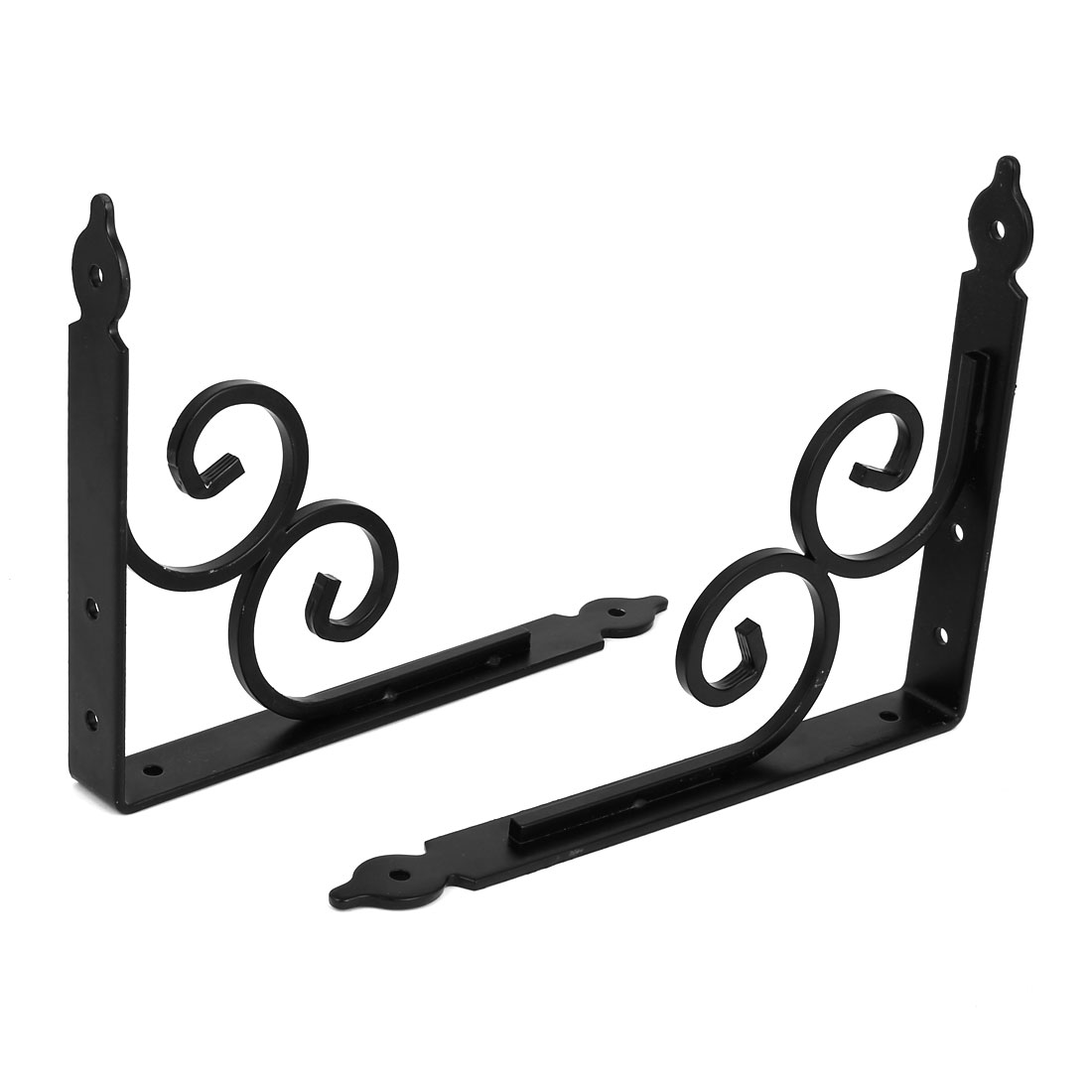 240mm x 190mm 90 degree Wall Mounted Shelf Bracket Brace Support Black 2pcs